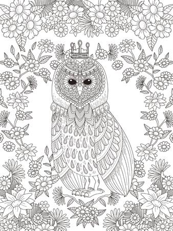 dessin au trait: belle page à colorier de hibou d'éléments floraux en ligne exquise