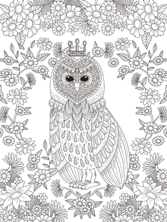 lovely owl coloring page with floral elements in exquisite line