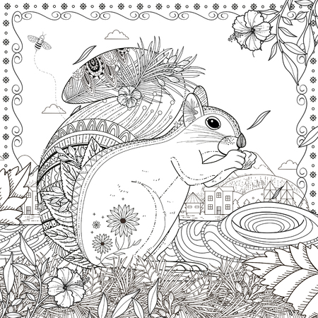 exquisite: adorable squirrel coloring page in exquisite line