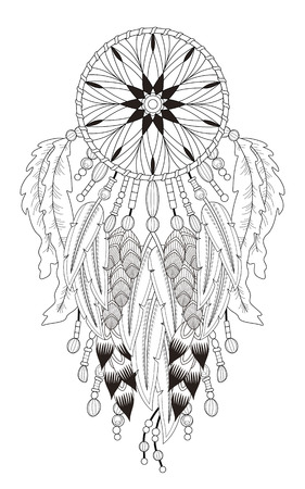 attractive dream catcher coloring page with in exquisite line Imagens - 49728924