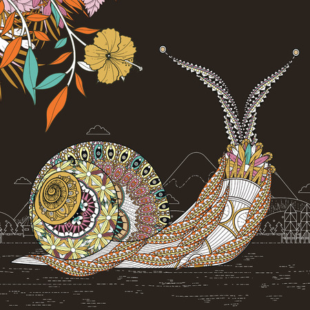 spiral: elegant snail coloring page in exquisite line Illustration