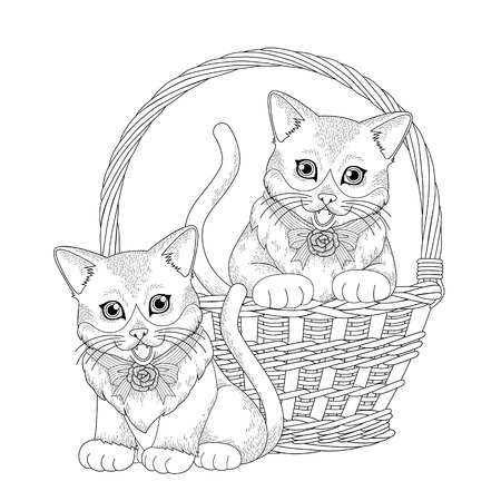 kitties: adorable kitty in basket coloring page in exquisite line