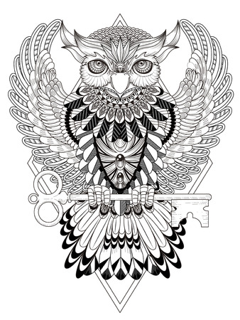 'black: mysterious owl coloring page in exquisite line