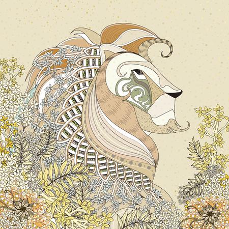 dessin au trait: attrayante Coloriage lion avec des �l�ments floraux en ligne exquise
