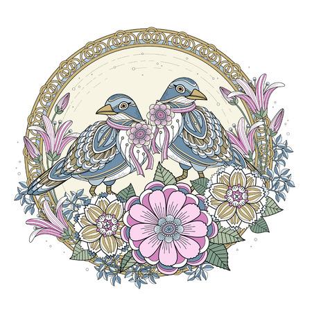 lijntekening: zegen vogel kleurplaat met bloemen elementen in prachtige lijn Stock Illustratie