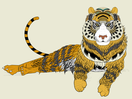 exquisite: attractive tiger coloring page in exquisite line