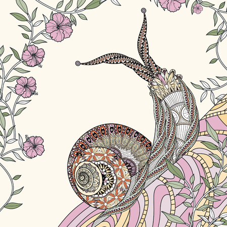 drawings: elegant snail coloring page in exquisite line Illustration