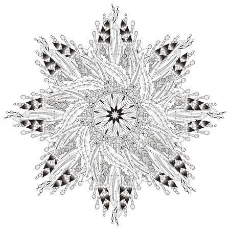 composing: attractive mandala coloring page with in exquisite line