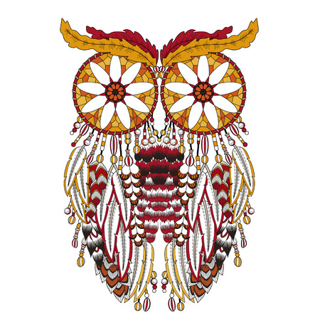 sumptuous: breathtaking owl coloring page with dream catchers in exquisite line