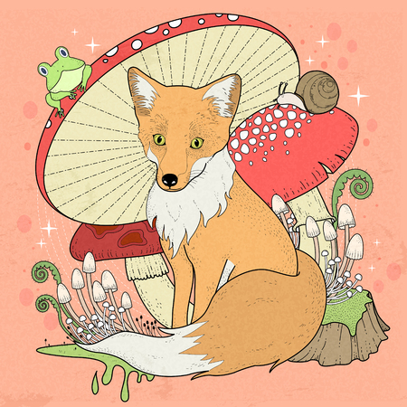 detailed: adorable fox coloring page with mushrooms in exquisite line