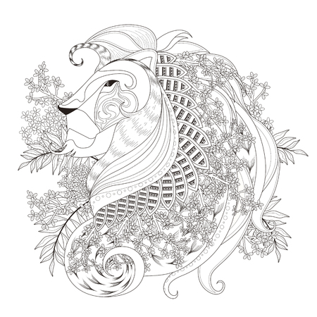 monochrome: attractive lion coloring page with floral elements in exquisite line