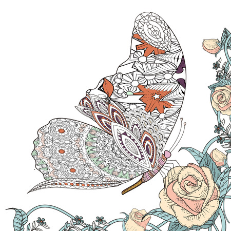 white roses: beautiful butterfly with floral elements coloring page in exquisite line