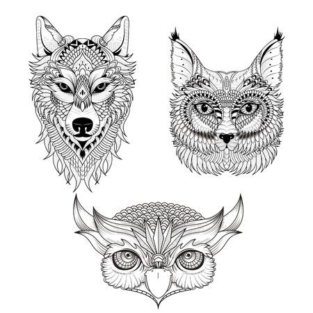 animal in the wild: atractiva página de la colección para colorear cabeza de animal en la exquisita línea