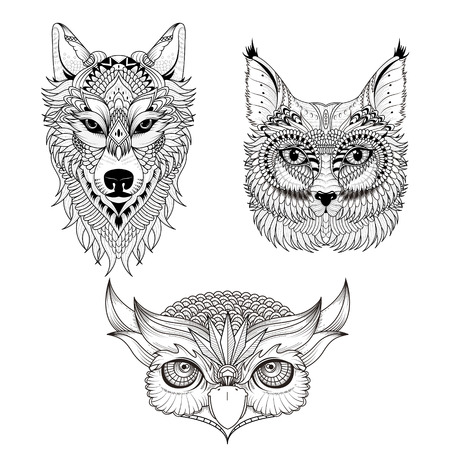 wolves: attractive animal head collection coloring page in exquisite line