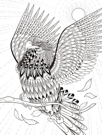 imposing flying eagle coloring page in exquisite line