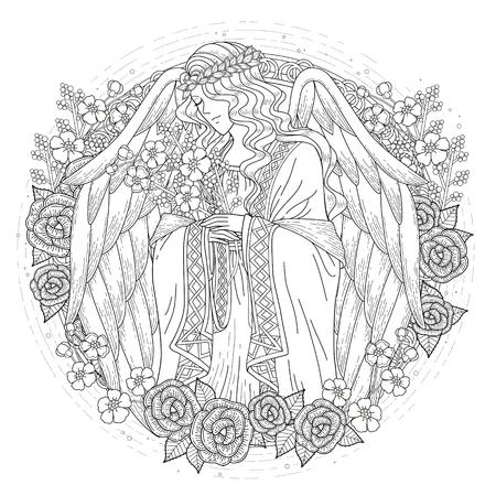 Anmutige Engel Färbung Seite mit floralen Elementen in exquisite Linie Standard-Bild - 49729146