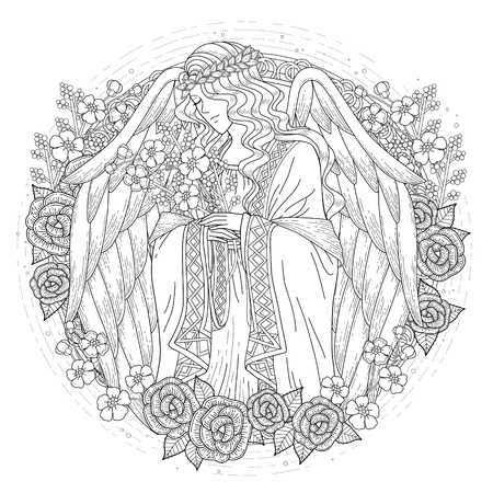 graceful angel coloring page with floral elements in exquisite line