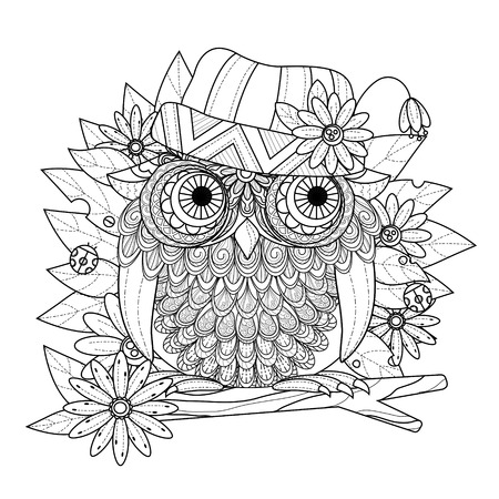 pretty eyes: lovely owl coloring page in exquisite line Illustration
