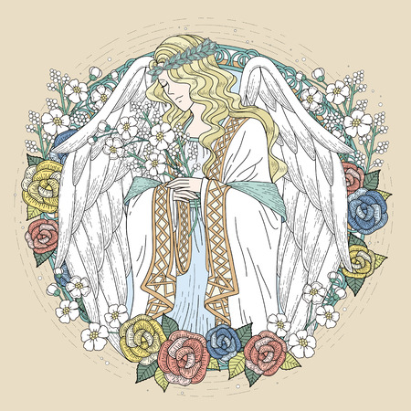 drawings: graceful angel coloring page with floral elements in exquisite line