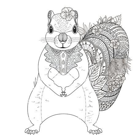 black squirrel: adorable squirrel coloring page in exquisite line