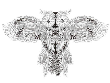 sumptuous: flying owl coloring page with dream catchers in exquisite line