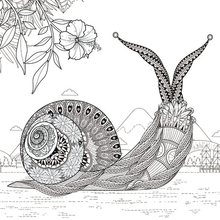 exquisite: elegant snail coloring page in exquisite line Illustration