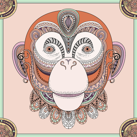 abstract animal: funny monkey head coloring page in exquisite line