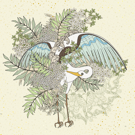 exquisite: elegant crane coloring page with floral elements in exquisite line Illustration