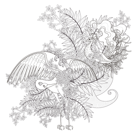 cranes: beautiful flying bird coloring page with floral elements in exquisite line