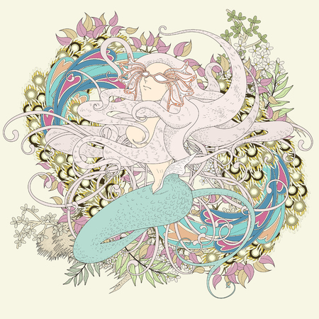 detailed: attractive mermaid coloring page with floral elements in exquisite line