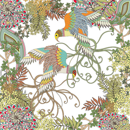 in bloom: beautiful flying bird coloring page with floral elements in exquisite line