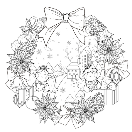Christmas wreath coloring page with decorations in exquisite line