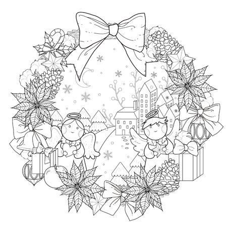 Colorear Corona de Navidad con decoraciones en exquisita línea Foto de archivo - 49729252