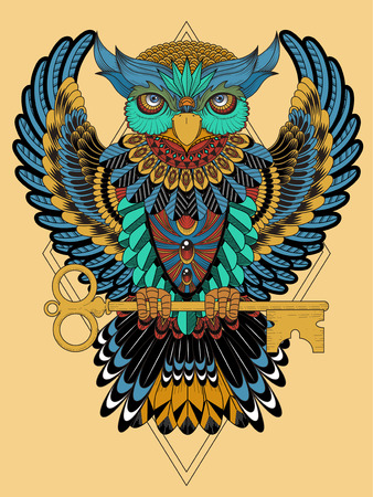 exquisite: mysterious owl coloring page in exquisite line