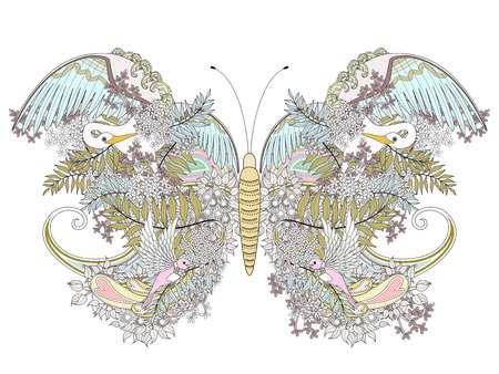 detailed: creative butterfly coloring page with floral elements in exquisite line Illustration