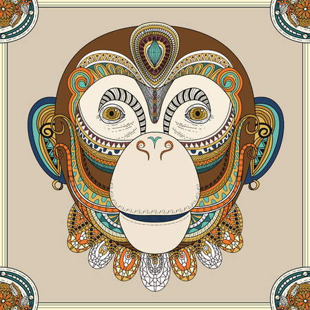 exquisite: funny monkey head coloring page in exquisite line