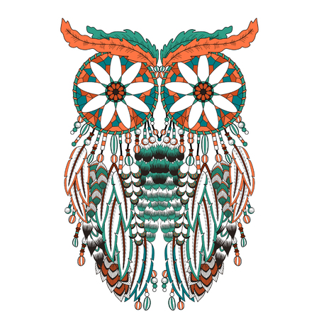 black feather: breathtaking owl coloring page with dream catchers in exquisite line