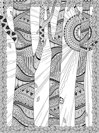 page decoration: mysterious forest coloring page in exquisite line
