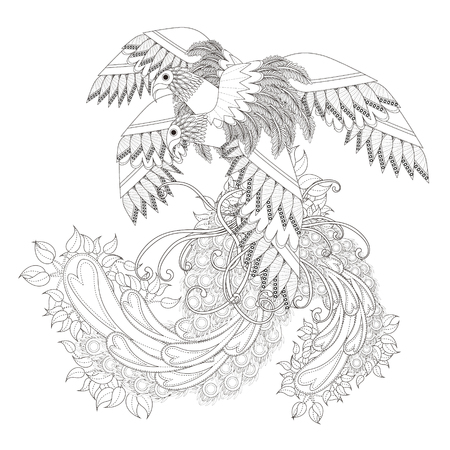 stylish couple: beautiful flying bird coloring page in exquisite line