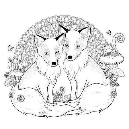 zorro: nieve para colorear zorro en exquisita l�nea