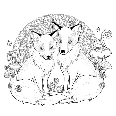 black fox: snow fox coloring page in exquisite line