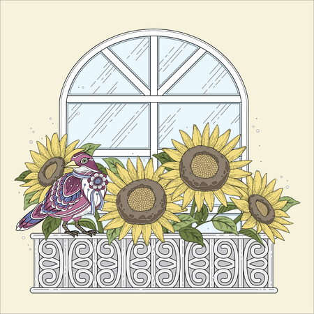 decorative balconies: beautiful sunflowers coloring page with floral elements in exquisite line