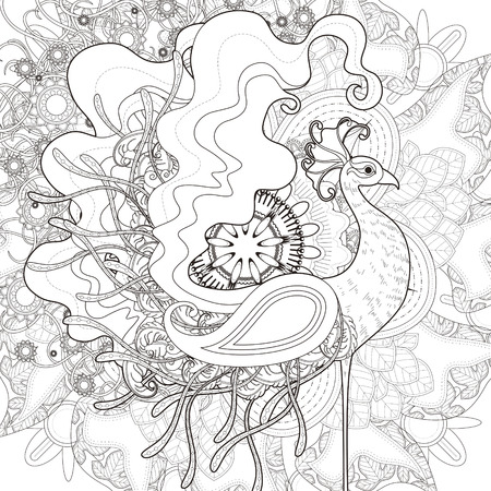 attractive peacock coloring page with floral elements in exquisite line Ilustração