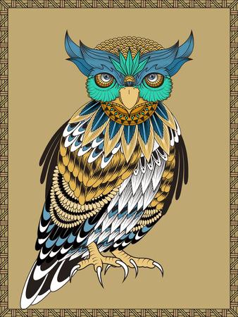 exquisite: elegant owl coloring page in exquisite line