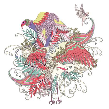 animal print: hermosa volando para colorear página del ave con elementos florales en línea exquisita