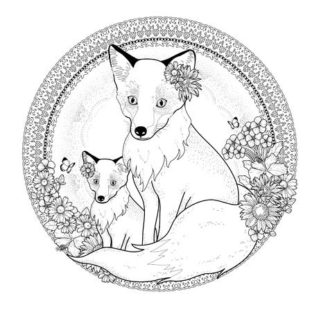 exquisite: adorable fox coloring page with floral elements in exquisite line Illustration