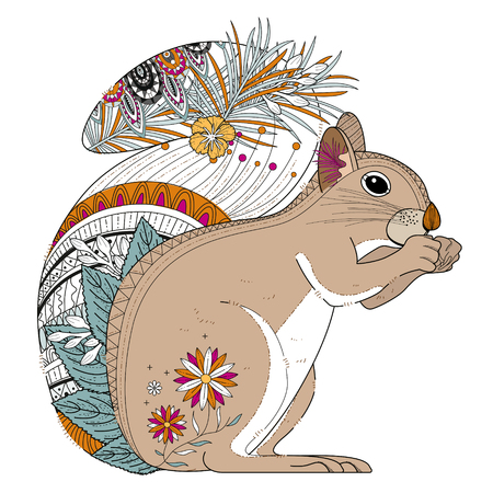 squirrel isolated: adorable squirrel coloring page in exquisite line