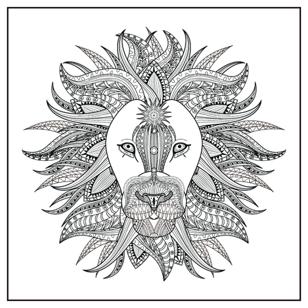 imposing: imposing lion coloring page in exquisite line Illustration