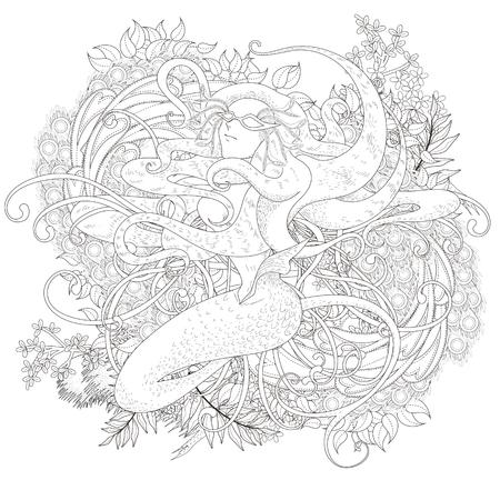 Atractiva Para Colorear Sirena Con Elementos Florales En Línea ...