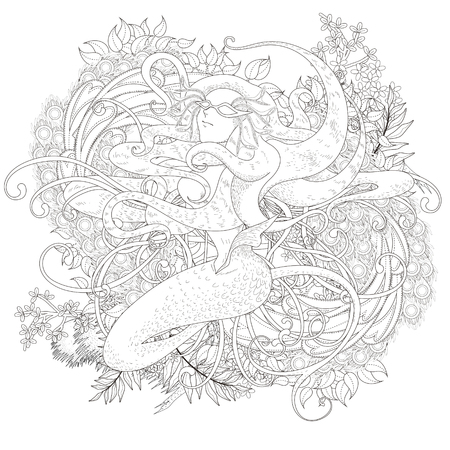 adult mermaid: attractive mermaid coloring page with floral elements in exquisite line